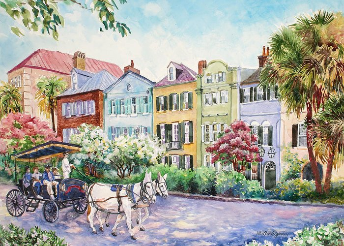 Charleston Greeting Card featuring the painting Assault And Battery On Rainbow Row by Alice Grimsley