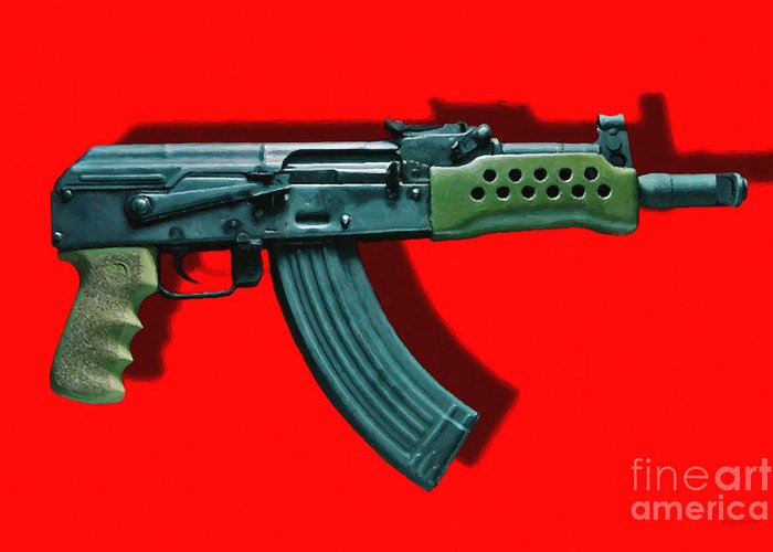 Gun Greeting Card featuring the photograph Assault Rifle Pop Art - 20130120 - V1 by Wingsdomain Art and Photography