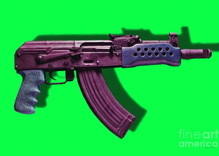 Gun Greeting Card featuring the photograph Assault Rifle Pop Art - 20130120 - V3 by Wingsdomain Art and Photography