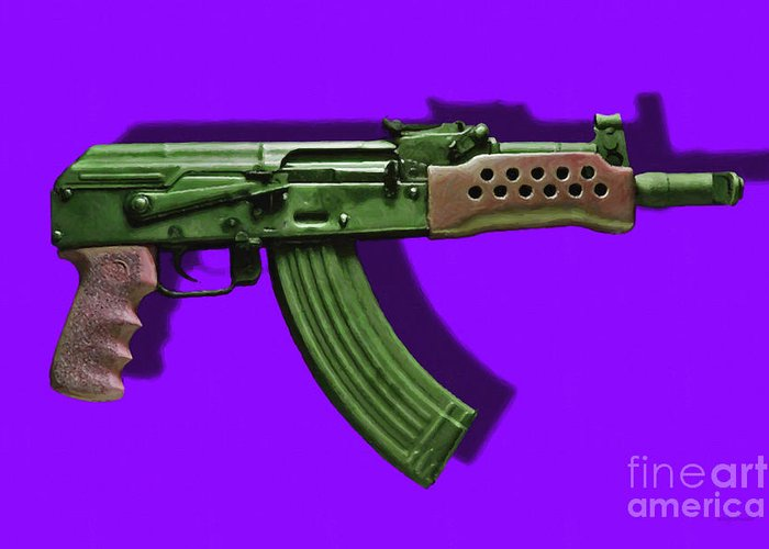 Gun Greeting Card featuring the photograph Assault Rifle Pop Art - 20130120 - V4 by Wingsdomain Art and Photography
