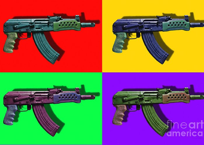 Gun Greeting Card featuring the photograph Assault Rifle Pop Art Four - 20130120 by Wingsdomain Art and Photography