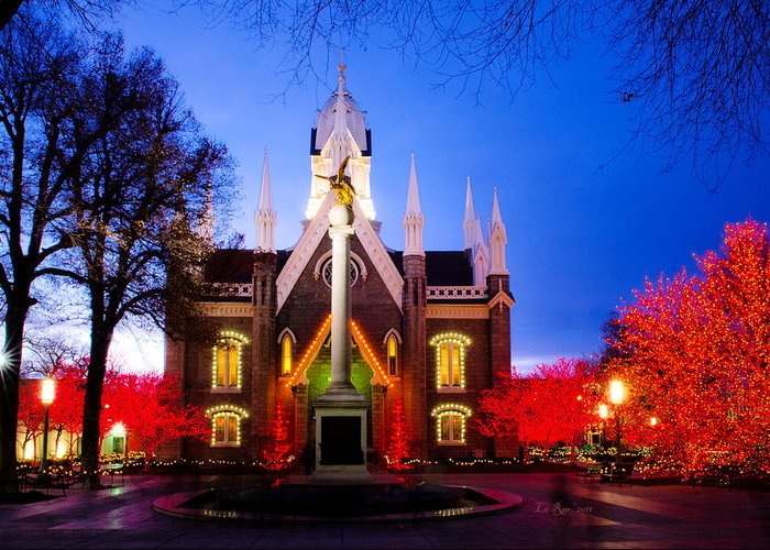 Temple Greeting Card featuring the photograph Assembly Hall Slc Temple by La Rae Roberts
