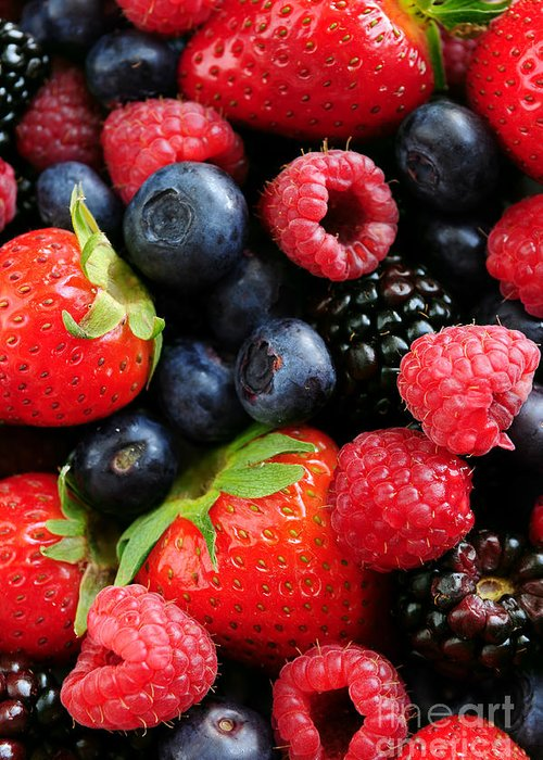 Berry Greeting Card featuring the photograph Assorted Fresh Berries by Elena Elisseeva