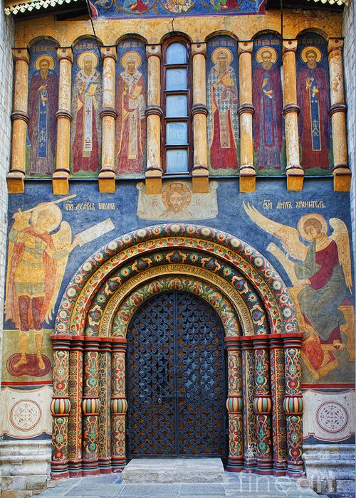Assumption Cathedral Entrance Greeting Card featuring the photograph Assumption Cathedral Entrance by Elena Nosyreva