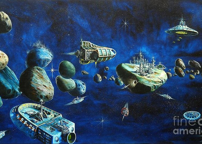 Fantasy Greeting Card featuring the painting Asteroid City by Murphy Elliott