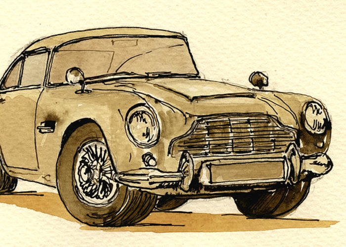 Car Greeting Card featuring the painting Aston Martin Db5 by Juan Bosco
