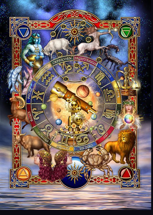 Ciro Marchetti Greeting Card featuring the digital art Astrology by Ciro Marchetti