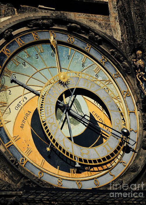 Prague Greeting Card featuring the pyrography Astronomical Clock In Prague by Jelena Jovanovic