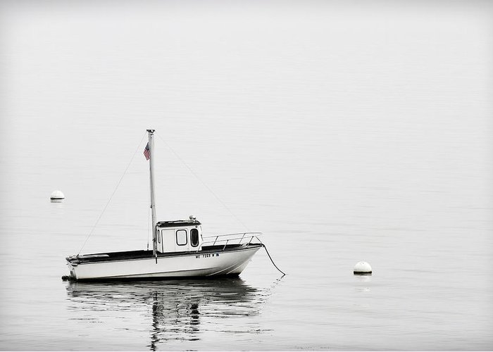 Boat Greeting Card featuring the photograph At Anchor Bar Harbor Maine Black And White by Carol Leigh