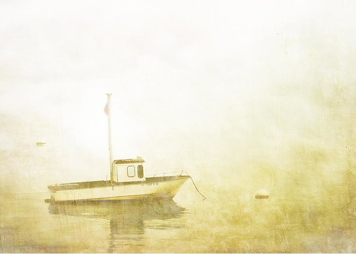 Boat Greeting Card featuring the photograph At Anchor Bar Harbor Maine by Carol Leigh