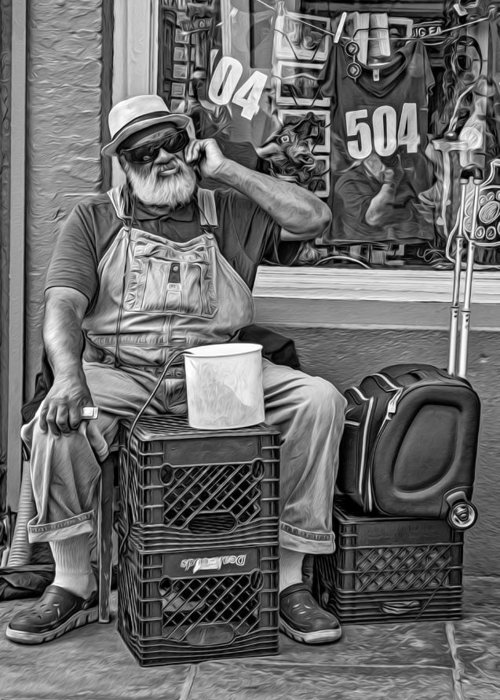 French Quarter Greeting Card featuring the photograph At His Office - Grandpa Elliott Small Bw by Steve Harrington