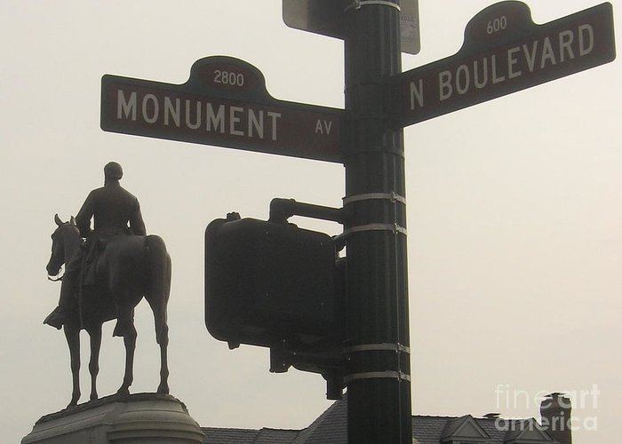 Virginia Greeting Card featuring the photograph at Monument and Boulevard by Nancy Dole McGuigan