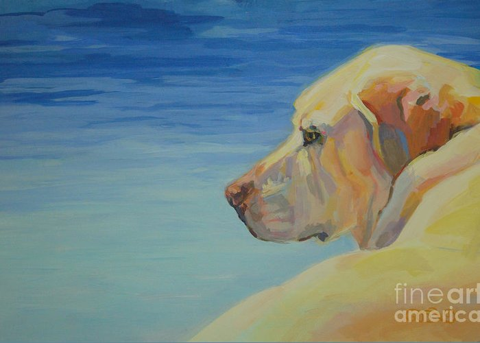 Yellow Lab Greeting Card featuring the painting At Peace by Kimberly Santini