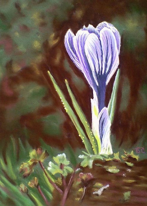 Crocus Greeting Card featuring the painting At Peace by Tammy Crawford