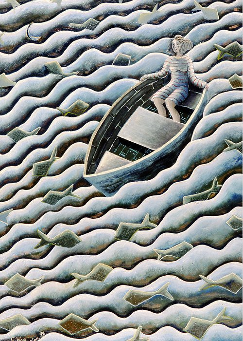 Rowing Greeting Card featuring the painting At Sea by Celia Washington