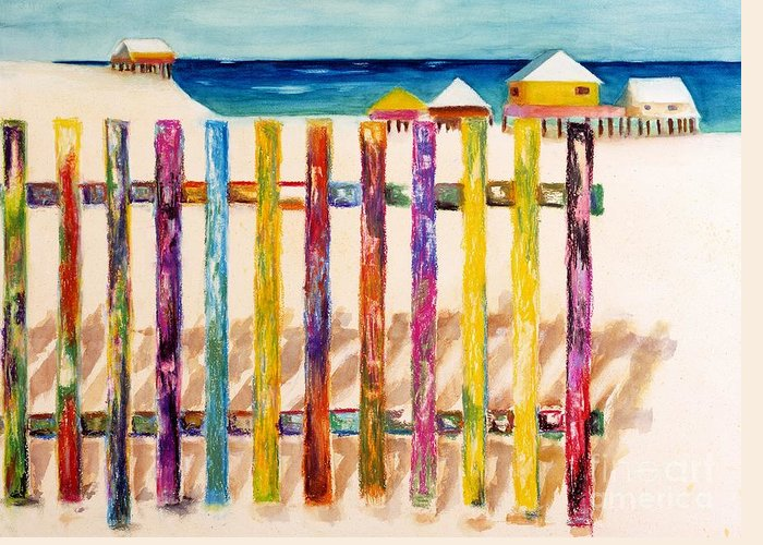 Beach Greeting Card featuring the painting At The Beach by Frances Marino