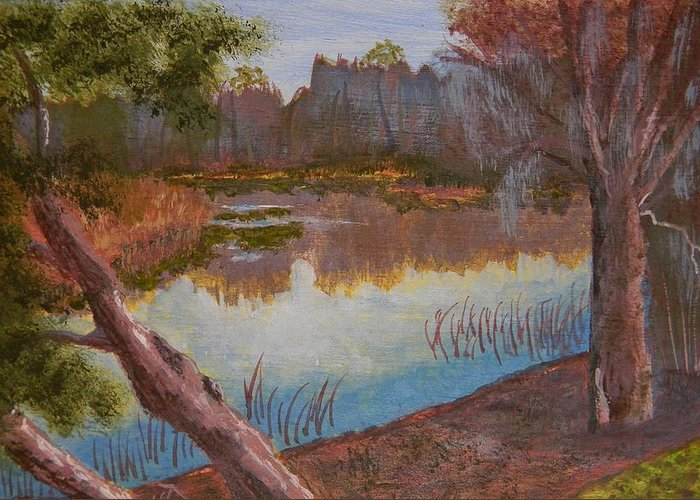 At The Bend On The Ocklawaha Greeting Card featuring the painting At The Bend On The Ocklawaha by Warren Thompson
