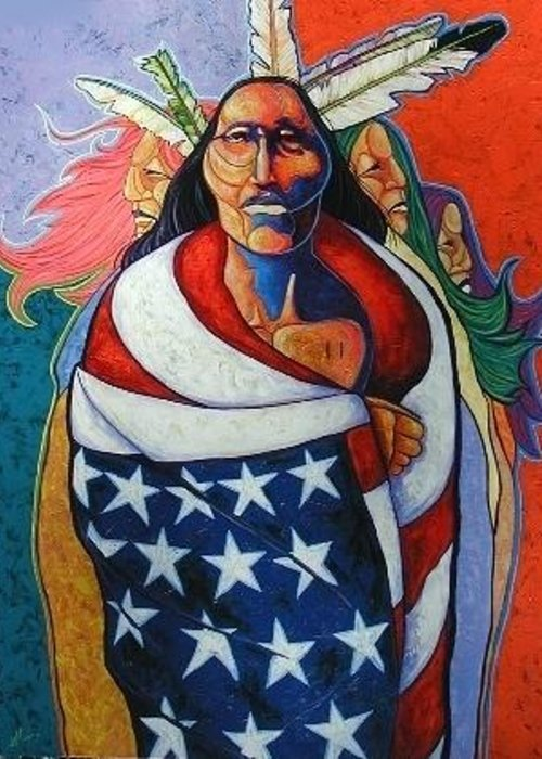 American Indian Greeting Card featuring the painting At The Crossroads by Joe Triano