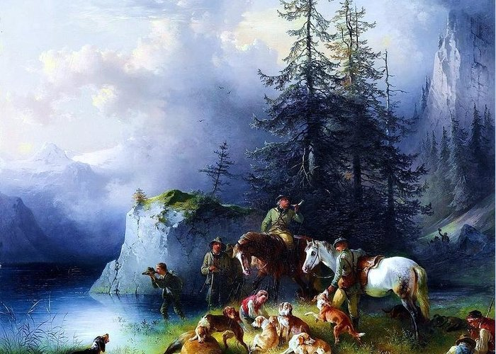 Pd Greeting Card featuring the painting At The End Of The Hunt by Pg Reproductions