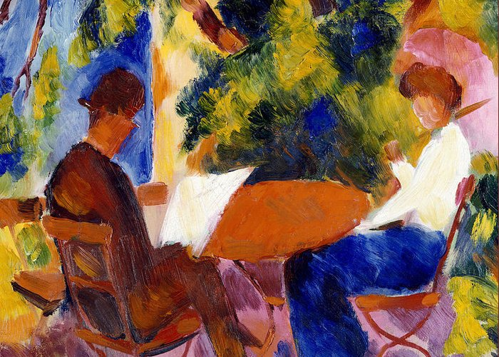 At The Garden Table Greeting Card featuring the painting At The Garden Table by August Macke