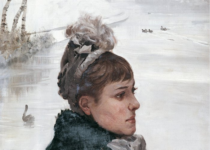 Portrait Greeting Card featuring the painting At The Lake by Giuseppe De Nittis