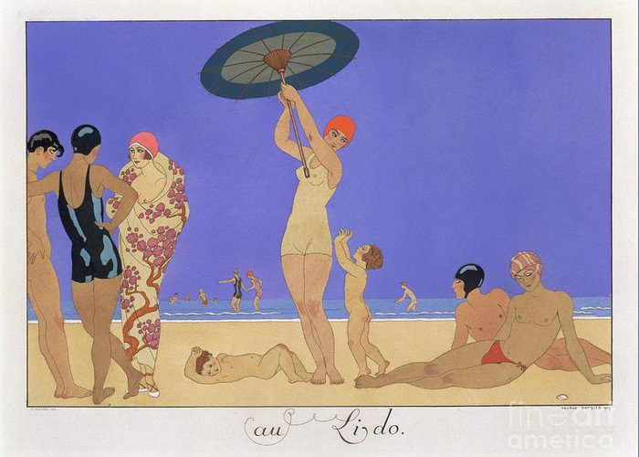 Print Greeting Card featuring the painting At The Lido by Georges Barbier