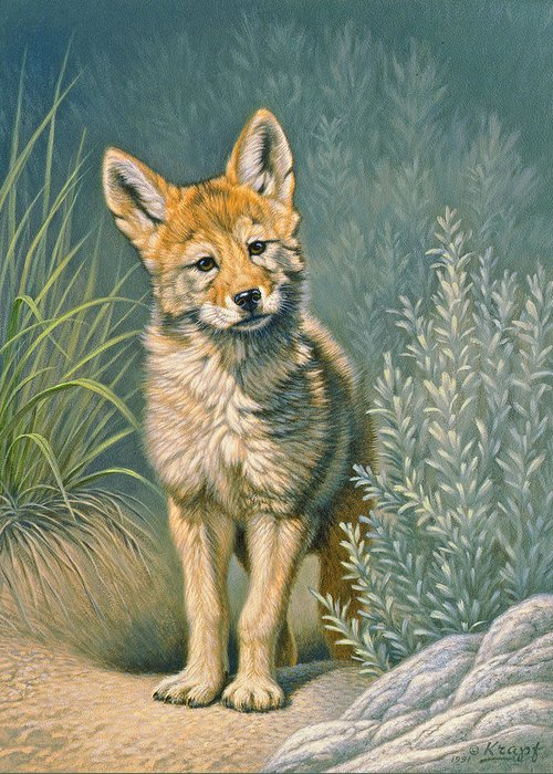 Wildlife Greeting Card featuring the painting At The Play Den by Paul Krapf