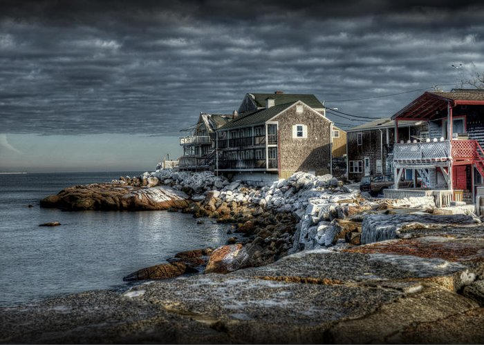 Rockport Harbor Greeting Card featuring the photograph At The Point by Craig Incardone