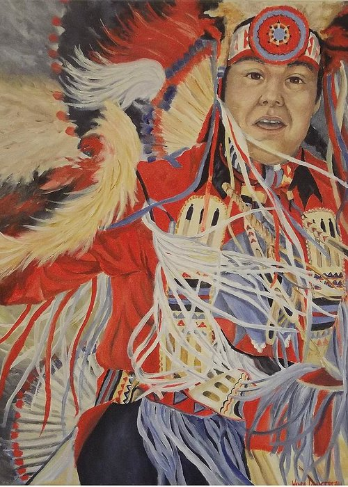 Indian Greeting Card featuring the painting At The Powwow by Wanda Dansereau