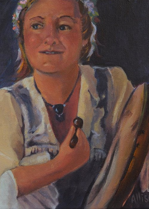 Portrait Greeting Card featuring the painting At the Renaissance Faire by Stephanie Allison