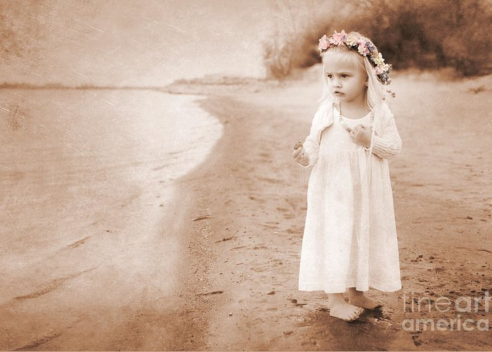 Childhood Greeting Card featuring the photograph At The Waters Edge by Cindy Singleton