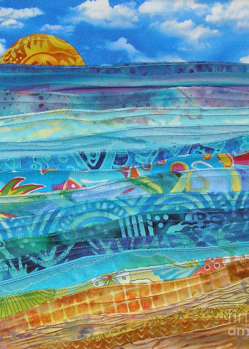 Beach Greeting Card featuring the tapestry - textile At The Water's Edge by Susan Rienzo
