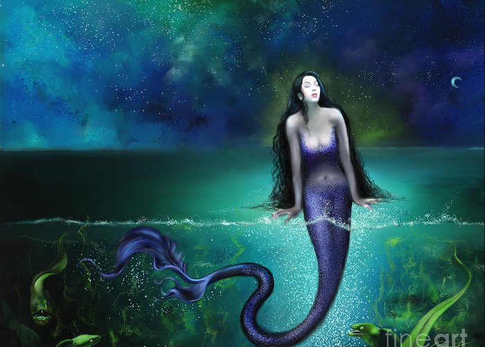 Mermaid Greeting Card featuring the painting Atargatis by - Artificium -