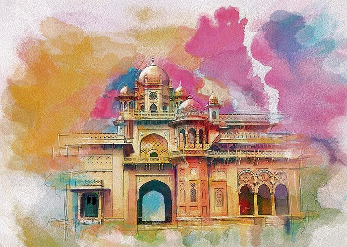 Pakistan Greeting Card featuring the painting Atchison College by Catf