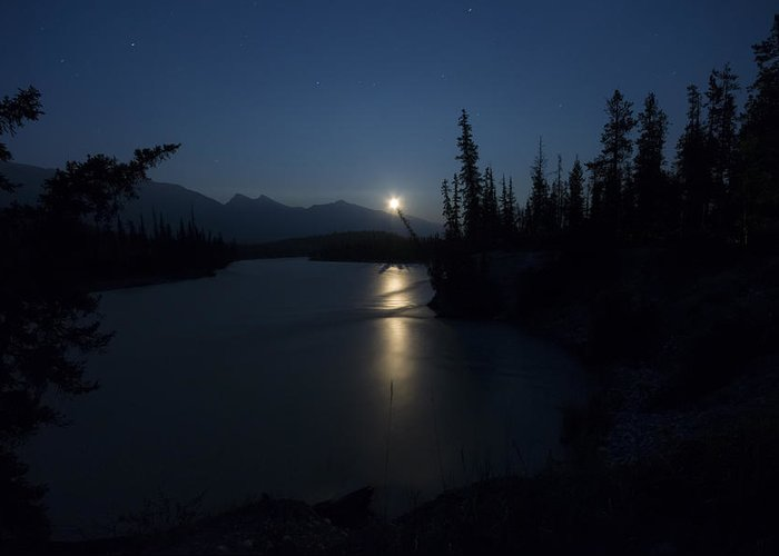Moon Greeting Card featuring the photograph Athabasca River Moonrise by Cale Best