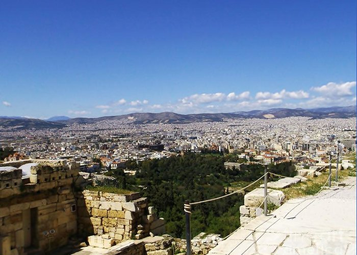 Athens Greeting Card featuring the photograph Athens View From Acropol by Kostas Kanellopoulos