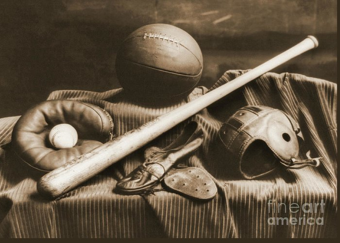 Athletic Equipment 1940 Greeting Card featuring the photograph Athletic Equipment 1940 by Padre Art
