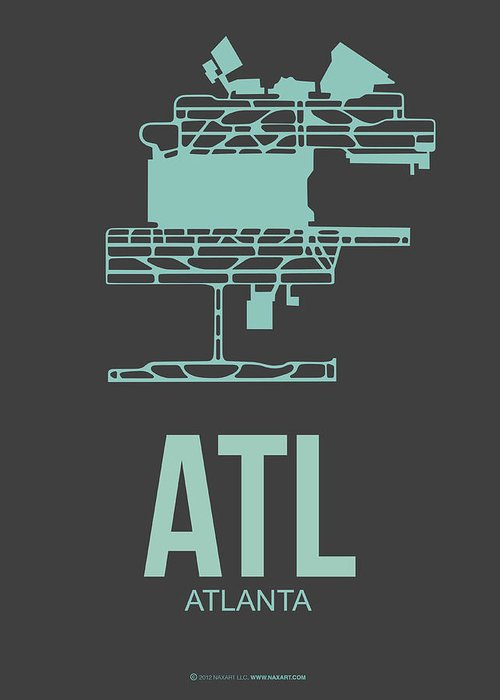Atlanta Greeting Card featuring the digital art Atl Atlanta Airport Poster 2 by Naxart Studio