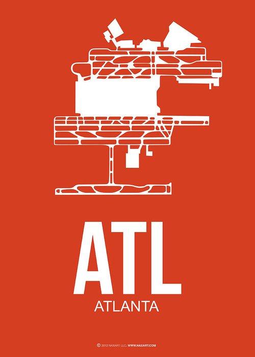 Atlanta Greeting Card featuring the digital art Atl Atlanta Airport Poster 3 by Naxart Studio