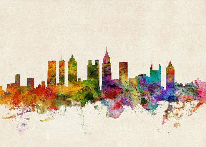 Watercolour Greeting Card featuring the digital art Atlanta Georgia Skyline by Michael Tompsett