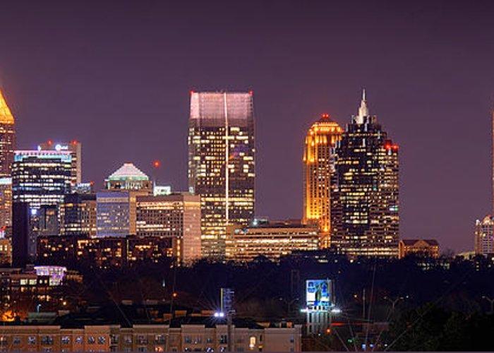 Atlanta Greeting Card featuring the photograph Atlanta Skyline At Night Downtown Midtown Color Panorama by Jon Holiday