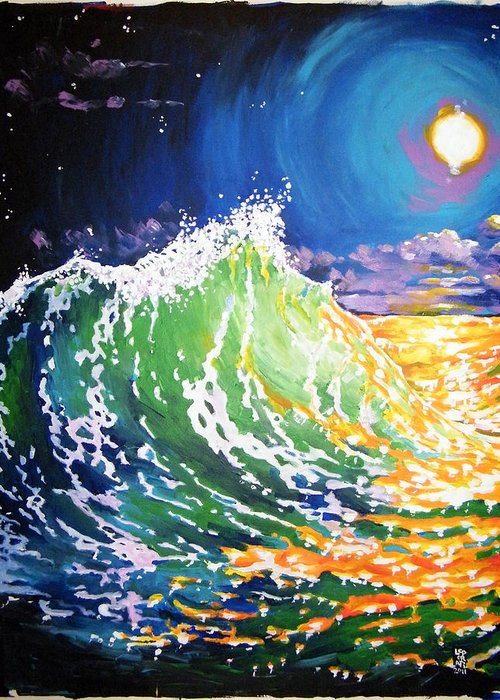 Michael Leporati Greeting Card featuring the painting Atlantic Beach Florida by Michael Leporati