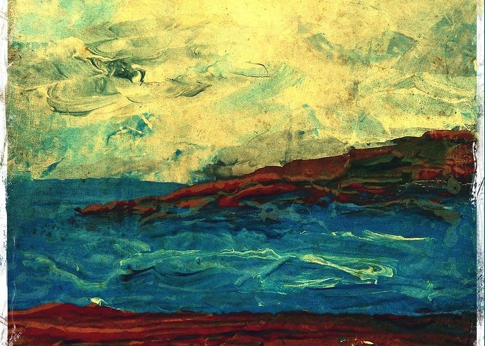Beach Scene Greeting Card featuring the painting Atlantic Ocean Beach Scene by Laura Carter