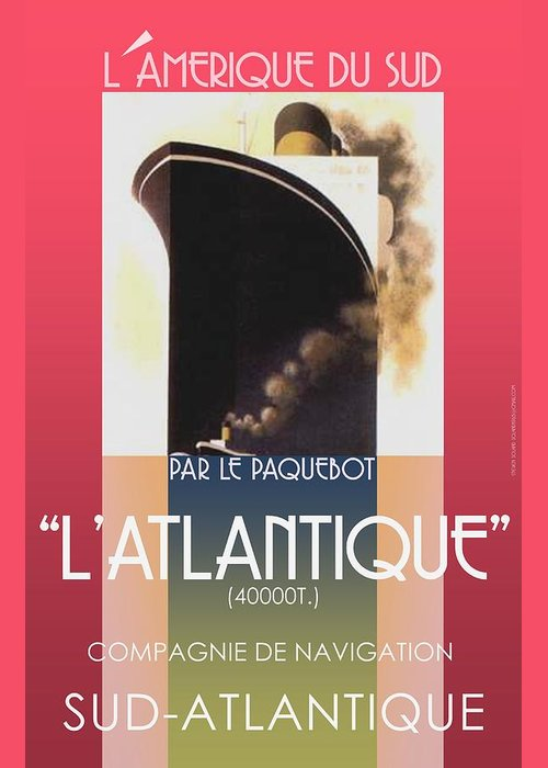 Vintage French Travel Poster Updated/redone And New Colors Added... Vintage Look... Greeting Card featuring the digital art French Travel Poster Advertisement Atlantique by Steven Boland