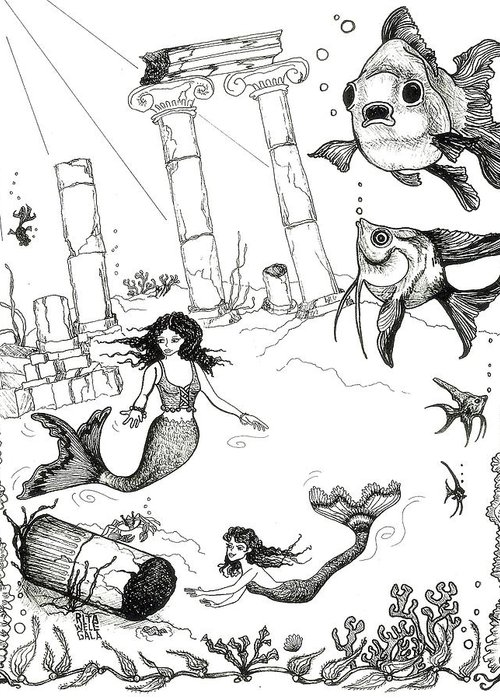 Pen And Ink Greeting Card featuring the drawing Atlantis Mermaids by Rita Welegala