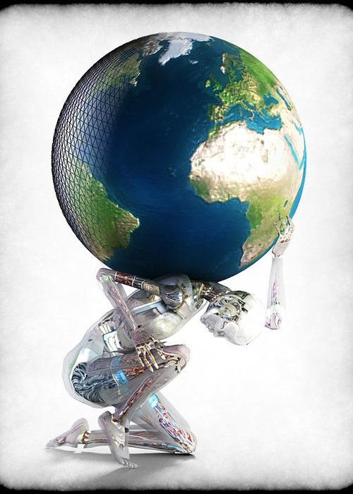 World Greeting Card featuring the digital art Atlas 3000 by Frederico Borges