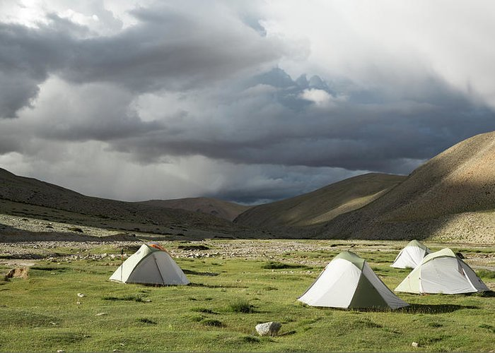 Tranquility Greeting Card featuring the photograph Atmospheric Grassy Camping by Jamie Mcguinness - Project Himalaya