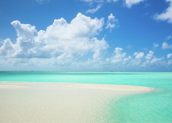 Seascape Greeting Card featuring the photograph Atoll Lagoon Sand Bank Turquoise Clear by Mlenny