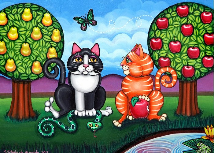 Cat Greeting Card featuring the painting Atom And Eva by Victoria De Almeida