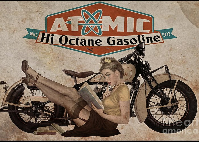 Pinup Greeting Card featuring the painting Atomic Gasoline by Cinema Photography